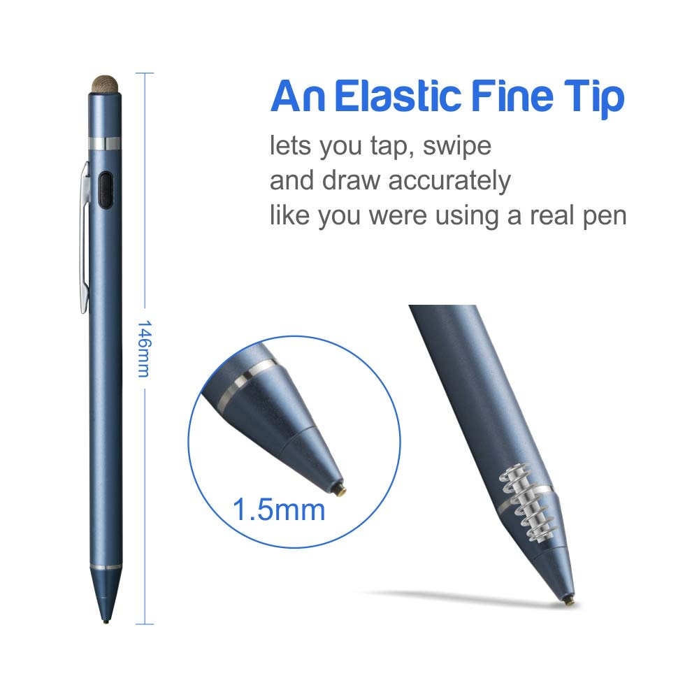 Evach Capacitive Rechargeable Pen with 1.5mm Ultra Fine Tip Dark Blue Touchscreen Pencil Control-Like for Apple Pen and iPhone Stylus,Samsung Pen for Tablets Active Stylus for iPad