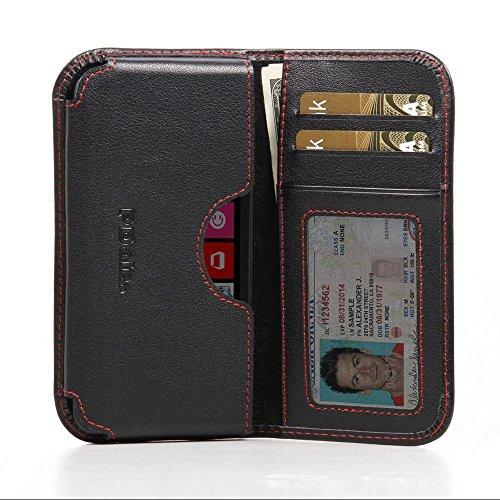 Nokia Lumia 630 635 Leather Wallet Folio Case (Red Stitch), PDair Genuine Leather Wallet Case, Wallet Flip Case, Luxury Premium Card Wallet Sleeve for Nokia Lumia 630 - Nokia Free 635 Shipping Case
