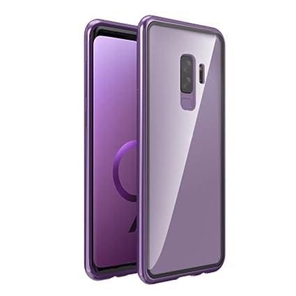 Christine - Carcasa de Cristal para Samsung Galaxy S9/S9 Plus /S8 y S8 Plus (con Ventosa magnética, Resistente a los arañazos), Transparent Purple, s9
