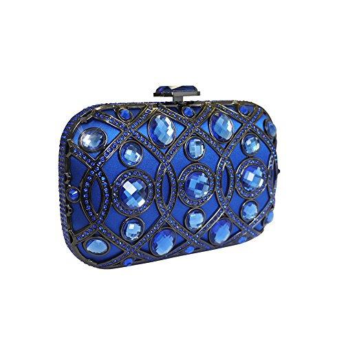 Anna Cecere italiano progettato borsa cocktail Lustrino gioiello frizione sera - blu