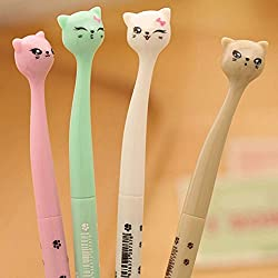 AA 4x Kawaii Fun Black Gel Ink Roller Ball Point Pen Cat Color Random