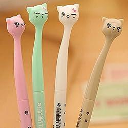 AA 4x Kawaii Fun Black Gel Ink Roller Ball Point Pen Cat Color Random