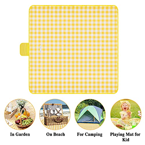 Onlyesh Outdoor Picnic Blanket, 200x200 Waterproof Beach Picnic Mat, Large Picnic Blanket for Beach/Park/Camping/Hiking/Family Concerts/Grass Trips, Yellow