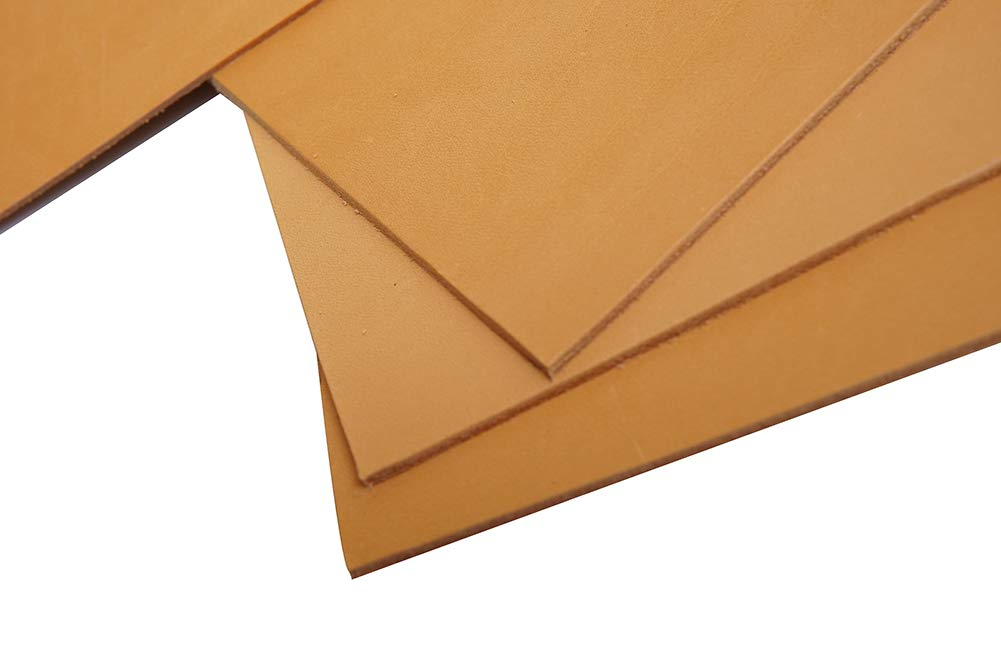 Natural-3.0mm, 10x10 Firm Vegetable Tanned Full Grain Tooling Leather Thick Cowhide Handmade Stiff Leather Material for Craft//Tooling//Caving//Hobby Workshop