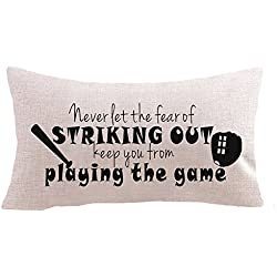 """Baseball sayings never let the fear of striking out Baseball sets bat gifts Cotton Linen Square Throw Waist Pillow Case Decorative Cushion Cover Pillowcase Sofa 12""""x 20"""" (12''x20'' inches, 1)"""