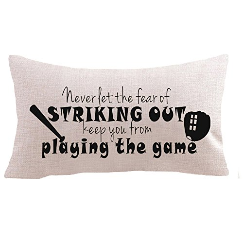 "Baseball sayings never let the fear of striking out Baseball sets bat gifts Cotton Linen Square Throw Waist Pillow Case Decorative Cushion Cover Pillowcase Sofa 12""x 20"" (12''x20'' inches, 1)"