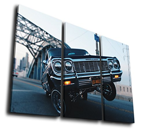 Mixi Art 3 Pcs Gangsta Lowrider Chevrolet Sport Car Printed Canvas Wall Art Picture Home Décor, Contemporary Artwork, Split Canvases (with Framed, Size 2: 12x24inx3pcs.) ()