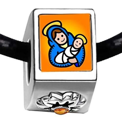 Chicforest Silver Plated Religion Christian Mary And Jesus Photo Topaz Crystal November Birthstone Flower Charm Beads Bracelets European Bracelets Compatible