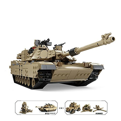 Feleph Kazi M1A2 Abrams Tank Hummer 2-in-1 Military Transformable Building Kit Set Blocks Toys Compatible with All Major Brands (1463+ Pieces)