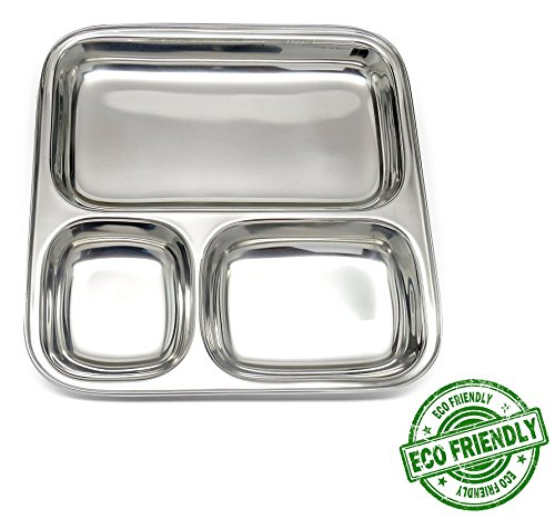 (Lifestyle Block Stainless Steel Eco Friendly Compartment Stainless Steel Food Tray Large Divided Camping Plate)