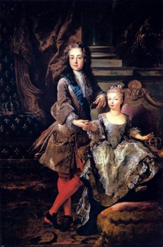 Jean-Francois De Troy Portrait of Louis XV of France and Maria Anna Victoria of Spain - 18'' x 27'' 100% Hand Painted Oil Painting Reproduction by Art Oyster