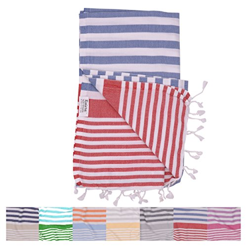 Amalfi Denim Red Turkish Towel for Bath & Beach Swimming Pool Yoga Pilates Picnic Blanket Scarf Wrap - Peshtemal Hammam Fouta by The Riviera Towel - Macy's Sale New York
