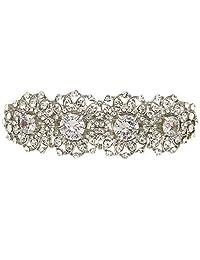 Ever Faith Silver-Tone Cubic Zirconia Crystal Wedding Sunflower Hair Barrette Clip Clear N05548-1