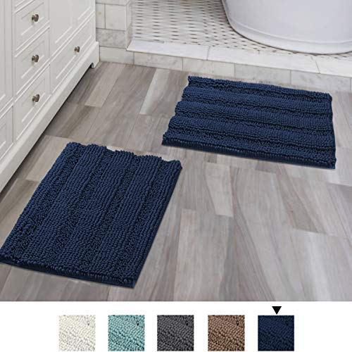 Navy Blue Bathroom Rugs Ultra Thick and Soft Texture Chenille Plush Striped Floor Mats Hand Tufted Bath Rug with Non-Slip Backing Microfiber Door Mat for Kitchen/Entryway (Pack 2-17
