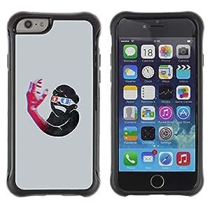 """Pulsar iFace Series Tpu silicona Carcasa Funda Case para Apple (4.7 inches!!!) iPhone 6 , Estructura 3D Arte Boy Mano Gafas Azul Rojo"""""""