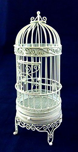 Vanity Fair Dolls House Miniature 1:12 Pet Accessory White Wire Wrought Iron Large Bird Cage
