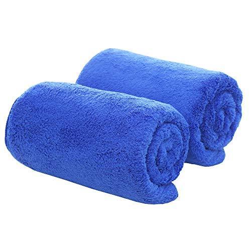 - Coral Fleece Microfiber Bath Towel (2 Pack, 27.5×55 Inch) Super Absorbent Thick Home Bath Towel Swimming Towel Blue