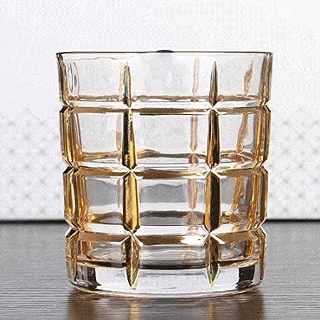 KEKEYANG Decantador Whisky Decanter Vino decantador de 7 Piezas Conjunto Whisky Decanter Cristal Vidrio Gafas de Vino Rojo Dibujo Oro línea Jarra de Vino Regalo de la casa Decantador de Whisky
