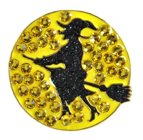[Navika Witch Swarovski Crystal and Glitz Ball Marker with Hat Clip] (Witch Cutouts)