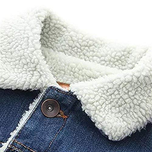 Breasted Ragazza Imbottita Giacche Invernali Jeans Elegante Tasche Cappotto Pelliccia Donna Chic Single Accogliente Lunga Bavero Anteriori Outerwear Manica Moda Giovane Blau Con F8nFqRf
