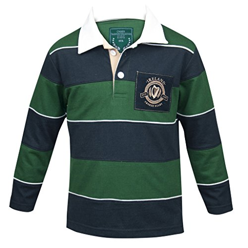 Croker Kids Green & Navy Striped Rugby Jersey, 4 Years - Cotton Long Sleeve Polo Shirt (Bold Stripe Polo Jersey)