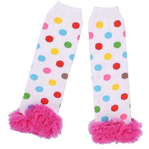 Aerusi 1 Pair Cute Lace Flower Kids Leg Protector (White Dot/Pink) -