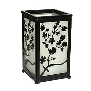 Decorative Flameless Hurricane Lantern,12 adorable panels,Black,Requires 2 C batteries