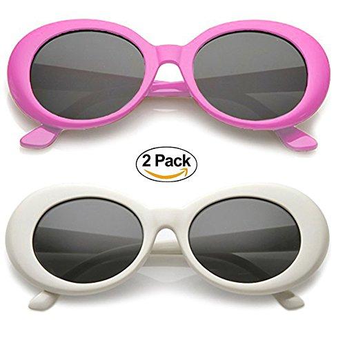 Alien Oval Sunglasses Classic Colorful Neutral Colored Lens 2PC (Purple/White, - Sunglasses Chinese