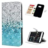 Galaxy S6 Edge Case - Mavis's Diary Premium Wallet PU Leather Blue Gradient Sea Pearl Shockproof Flip Folio Case with Magnetic Clasp Card Holders Flip Cover for Samsung Galaxy S6 Edge