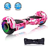 UNI-SUN 6.5'' Hoverboard for Kids, Two Wheel Electric Scooter, Self Balancing Hoverboard with Bluetooth and LED Lights for Adults, UL 2272 Certified Hover Board (Classic X-Camo Pink(no Bluetooth))