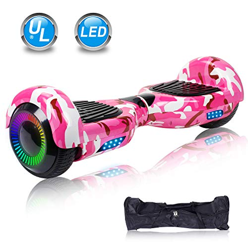"""UNI-SUN 6.5"""" Hoverboard for Kids, Two Wheel Electric Scooter, Self Balancing Hoverboard with Bluetooth and LED Lights for Adults, UL 2272 Certified Hover Board (Classic X-Camo Pink(no Bluetooth))"""