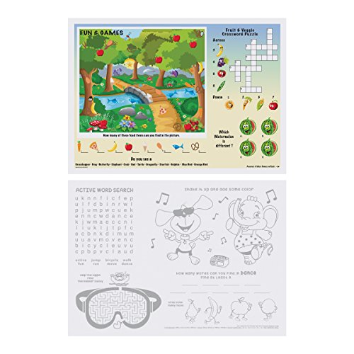 Hoffmaster 310693 Fun Games 2-Sided Placemat, 10