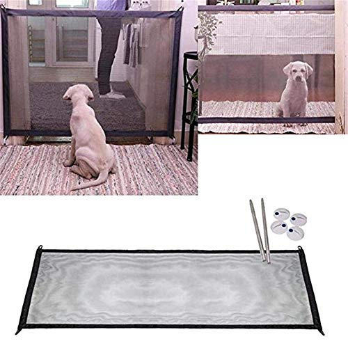 Retractable Pet Gate,Magic Gate Portable Folding Safe Guard Install Anywhere for Pet Safe,Pet Isolation Fence Net (70.8IN) ()
