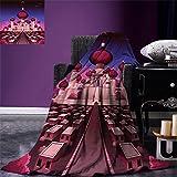 smallbeefly Fantasy Digital Printing Blanket Arabian Castle at Night Oriental Fairy Tale Palace Landscape Illustration Summer Quilt Comforter Indigo Magenta Pink