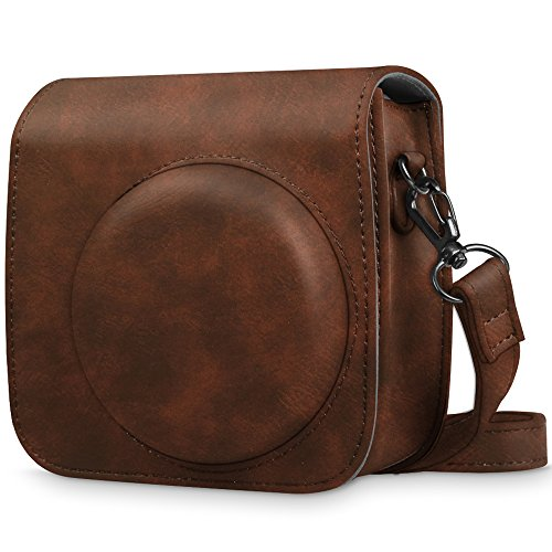 Fintie Protective Case for Fujifilm Instax Mini 8 Mini 8+ Mini 9 Instant Camera - Premium Vegan Leather Bag Cover with Removable Strap, Vintage ()