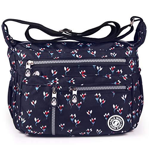 Bolsos 2 Escolares negro Mujer para 2 Bolsas Moda Messenger Viaje Tablet Mochilas Impermeable flores ABLE de Bag Bolso de Azul Sport Bandolera Mano Nylon Bolsos U5wRadxnqg