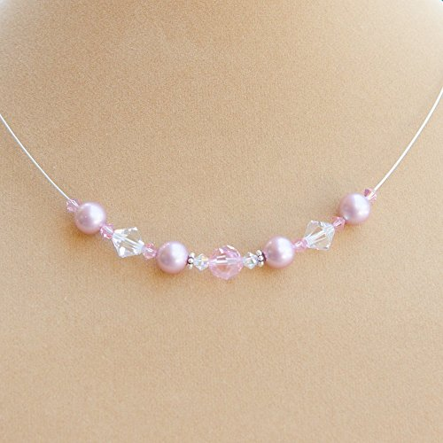 Rose Pink Floating Necklace with Swarovski Crystals, Simulated Pearls and Sterling Silver Back Drop