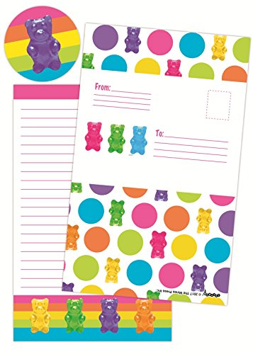 iscream Gummy Bear Rainbow Pack of 8 Fold-Over Cards with Flip Sticker Seals