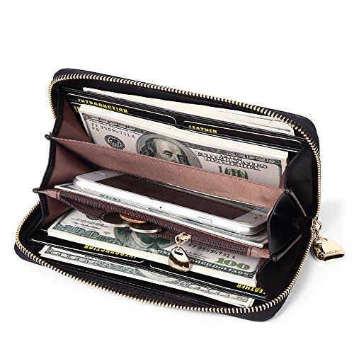 BOSTANTEN Women Leather Wallet Clutch Purses Card Cash Holder Long Wallets Black by BOSTANTEN (Image #3)