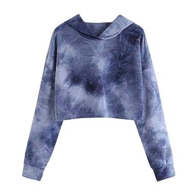 b689f430b6 HARRYSTORE Women Crop Jumpers Long Sleeve Cropped Hoodie Sweatshirt Jumper  Sweater Girl Crop Top Pullover Tops Hoodies Casual Short Blouse T-Shirt  ...
