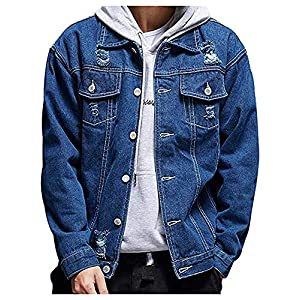 Men's Distressed Ripped Denim Jacket Button Down Trucker Jean Coat