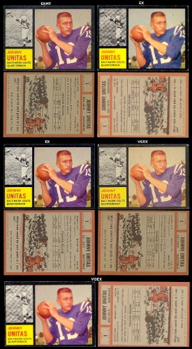 1962 Topps Regular (Football) Card# 1 Johnny Unitas of the Baltimore Colts Ex Condition
