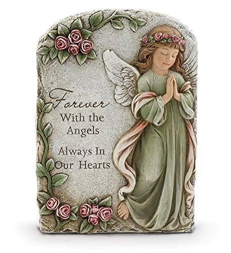 (Napco Praying Angel Floral Green and Pink 11 inch Resin Stone Decorative Plaque)