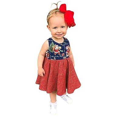 Navidad Niña Vestido Mini Vestido Elegante de Algodón Sin Mangas ...