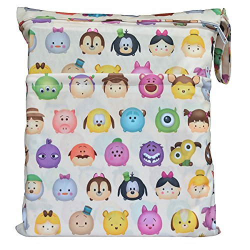 Wet Dry Bag Baby Cloth Diaper Nappy Bag Reusable with Two Zippered Pockets (Cartoon Head)