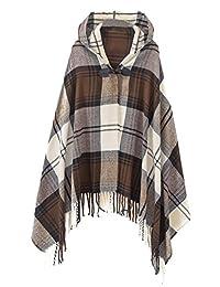 Urban CoCo Women's Vintage Plaid Knitted Tassel Poncho Shawl Cape Button Cardigan (Series 2 Camel)