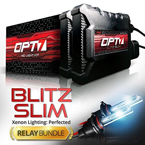 Warranty Yr (OPT7 Blitz Slim Hi-Powered HID Kit - H11 H8 H9 High Beam - Relay Bundle - All Bulb Sizes and Colors Yr Warranty [8000K Ice Blue Xenon Light])