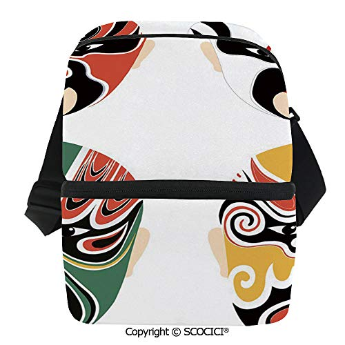 SCOCICI Reusable Insulated Grocery Bags Cultural Drama Costumes Artistic Orient Masks Ethnic Mystic Details Thermal Cooler Waterproof Zipper Closure Keeps Food Hot Or Cold