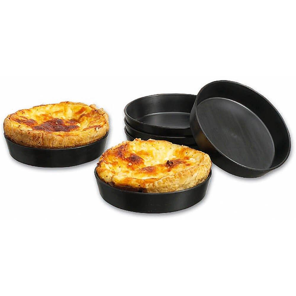 Matfer Bourgeat Exoglass Quiche/Tart Pan, 4'', 12PK Black 345110