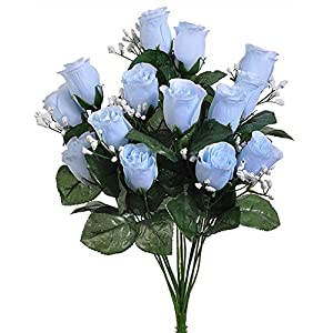 14 Light Baby Blue Roses Buds Lovely Long Stem Silk Wedding Flowers Bride Bouquets 73